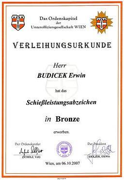 Schießleistungsabzeichen Bronze 2007 UOG Wien